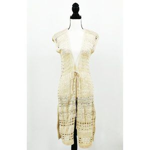 One World Open Weave Cream Knit Duster Tie Front